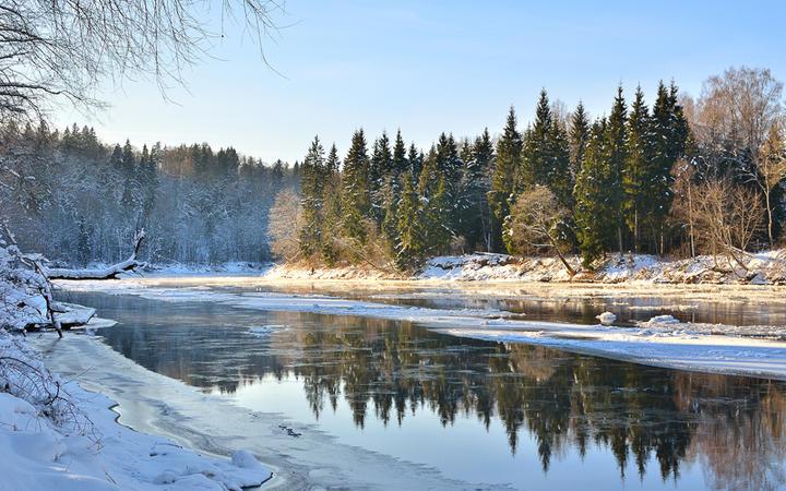 Der Gauja Fluss in der Winterlandschaft von Lettland © Aleksey Stemmer / Shutterstock.com