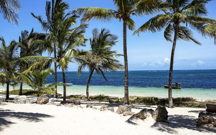 Weisser Sandstrand mit Palmen in Mombasa, Kenia Nordküste © Andrzej Kubik / Shutterstock.com